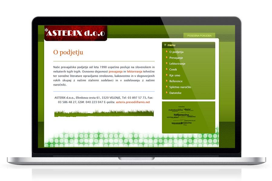 Spletna stran Asterix